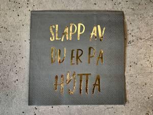 Bilde av Slapp av 33x33 cm grå m gulltrykk